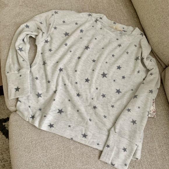 Soft Gray Allover Star Print Sweatshirt Sweater